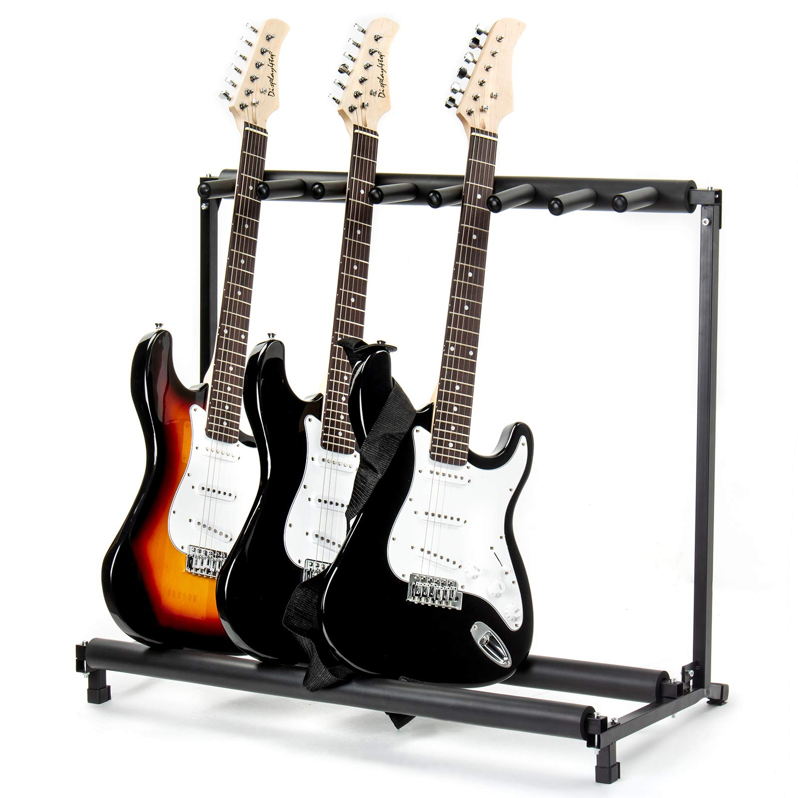AJO Multi Guitar Stand,7 Holder Guitar Folding Portable Storage Organization Stand Display Rack,Black