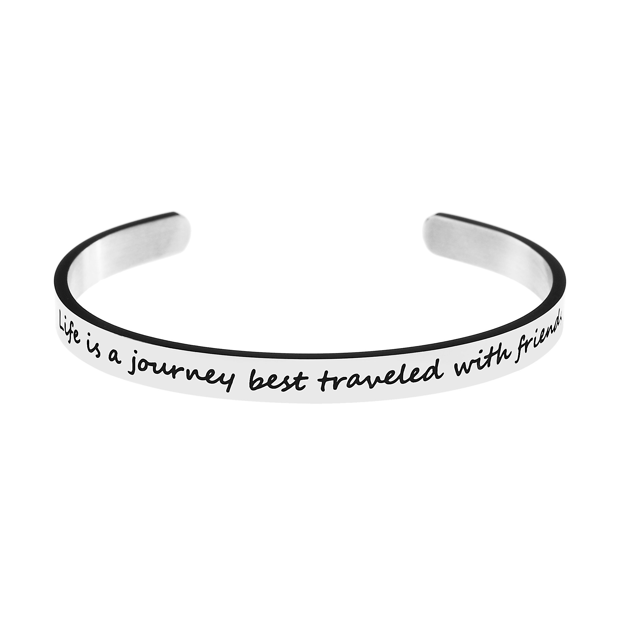 Yiyangjewelry Best Friend Bracelet Gift for Friendship Silver Stainless Steel Cuff Bangle Engraved Inspirational