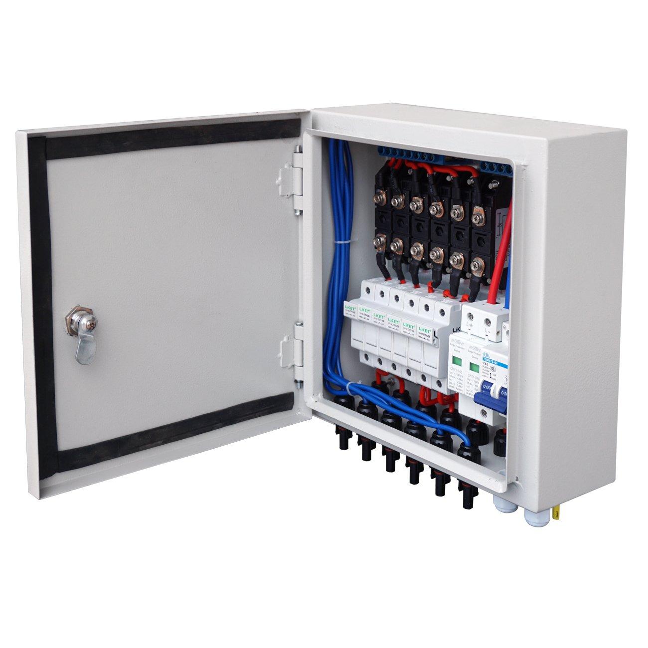 ECOWORTHY Solar Combiner Box - Protection contre les surtensions 6 A 10 cordes pré-câblée avec protection par fusible pour la protection contre les surtensions pour les systèmes hors tension et réseau