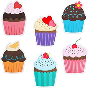 60 Pieces Colorful Cupcakes Cutouts Cupcake Paper Cutouts Birthday Bulletin Board Decorations Birthday Cake Cutouts for Classroom Decoration, 6 Patterns and 4.7 Inches Long