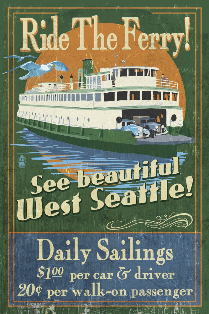 【税込?送料無料】 West Seattle x Ferry Vintage Sign 15oz Vintage Mug West LANT-3P-15OZ-WHT-41396 B00N5CB3FG 24 x 36 Giclee Print 24 x 36 Giclee Print, ヨコハマトナー:05054fd9 --- podolsk.rev-pro.ru