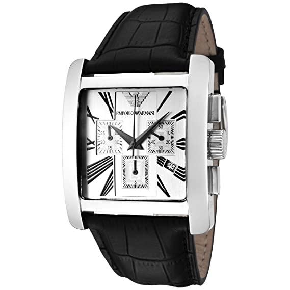 feb16133507 Emporio Armani Men s AR0186 Chronograph Dial Leather Silver Dial Watch   Amazon.ca  Watches