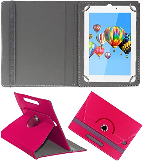 Acm Rotating 360 Leather Flip Case Compatible with Digiflip Pro Xt911 Tablet Cover Stand Dark Pink Bags,Cases   Sleeves