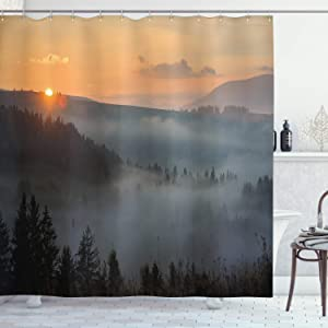Ambesonne Nature Shower Curtain, Morning at Foggy Mountain Range Sunrise Pine Tree Forest Dramatic Misty Sky Scenery, Cloth Fabric Bathroom Decor Set with Hooks, 84