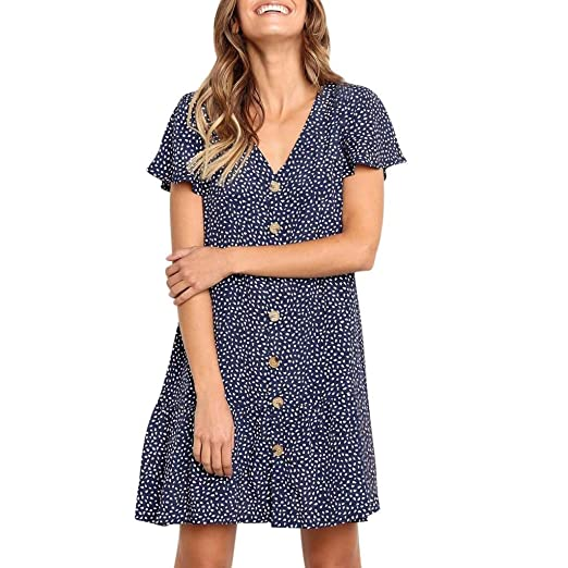 Go First Vestido De Verano para Mujer Dot Sexy Solid Button-up ...