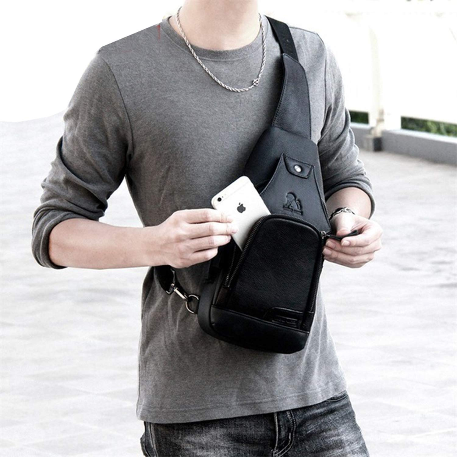 Men Leather Small Chest Bag Sling Messenger bag Fashion Travel Crossbody Bag USB charging