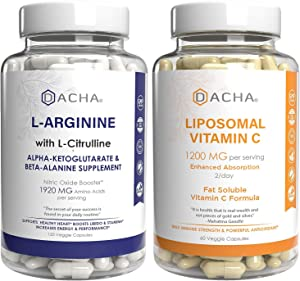 Max Strength Nitric Oxide Booster Bundle – L-Arginine & Liposomal Vitamin C, with L Citrulline, Ascorbyl Palmitate, Natural Absorb Boost Formula to Support Exercise Energy, Immune Health, Slim Look