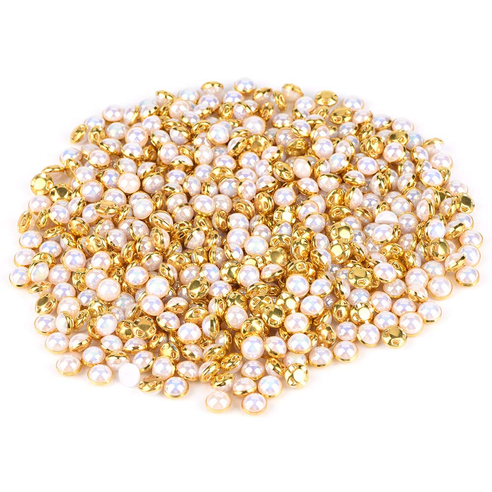 1 500 Pcs Fashionable Artificial Pearl Buttons Copper Base Buckle for Crafting Sewing Jewelry Pendant Accessory