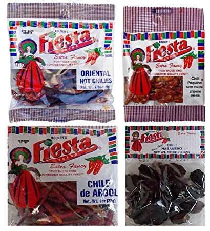 Bolners Fiesta Extra Fancy Dried Chili Peppers 4 Flavor Variety Bundle: (1) Oriental