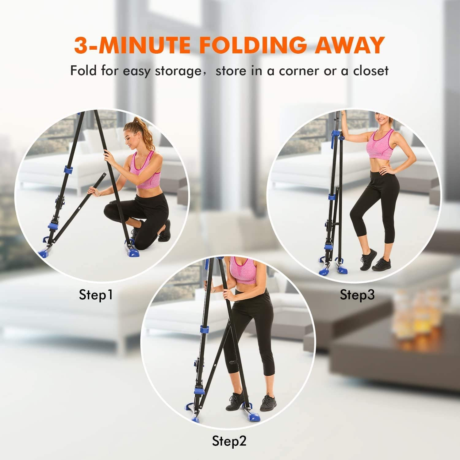 Flyerstoy Folding Vertical Climber Home Gym Exercise Climbing Machine for Home Body Trainer Stepper Cardio Workout Training Blue