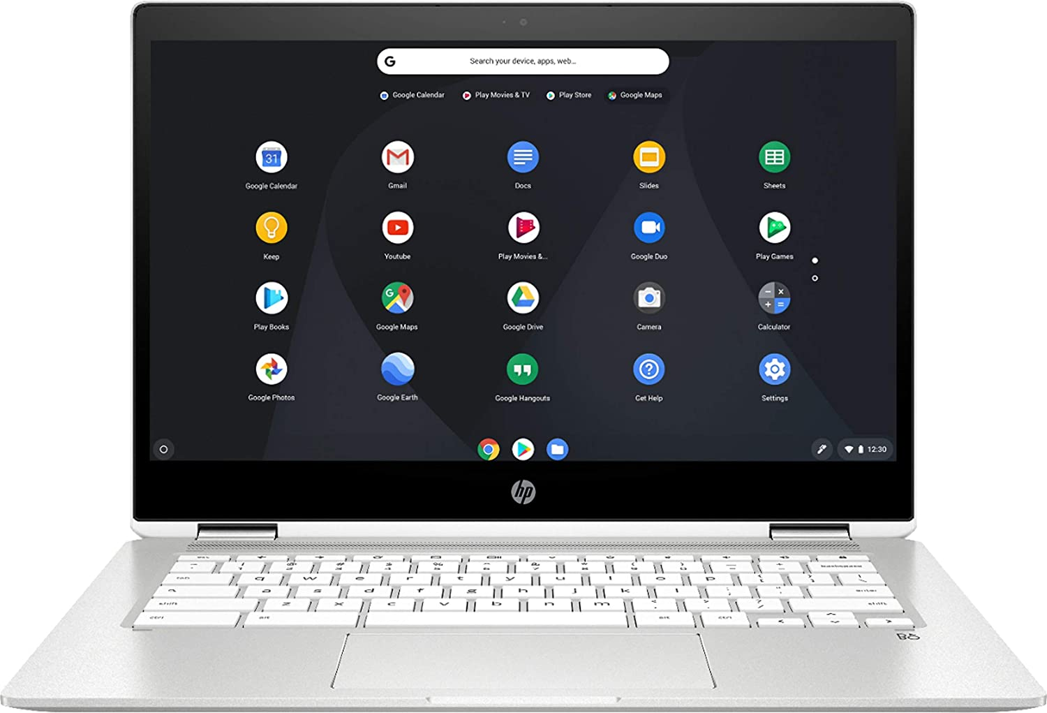 "HP Chromebook x360-14"" HD Touch - Celeron N4000-4GB - 32GB eMMC - Silver White"