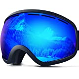ZIONOR Lagopus X10 Unisex Frame/Frameless Snowboard Ski Goggles with Dual Layer Lens 100% UV400 Protection Anti-fog with Fix-point Anti-slip Strap