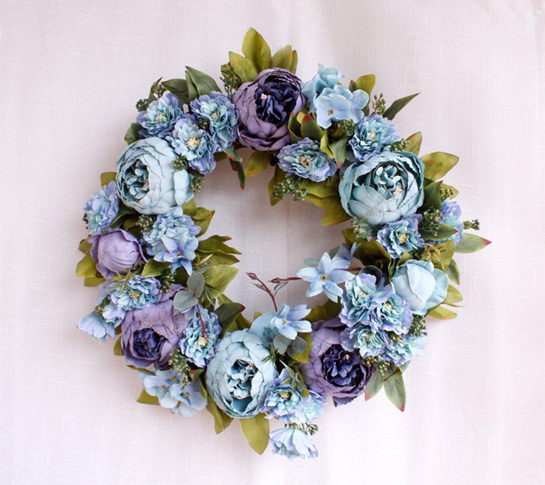 Yokoke-Peony-Wreath-Rose-Floral-Twig-Wreath-16-Inch-Handmade-Vintage-Artificial-Flowers-Garland-Front-Door-Wreath-Beautiful-Silk-For-Spring-And-Summer-Wreath-Display-blue