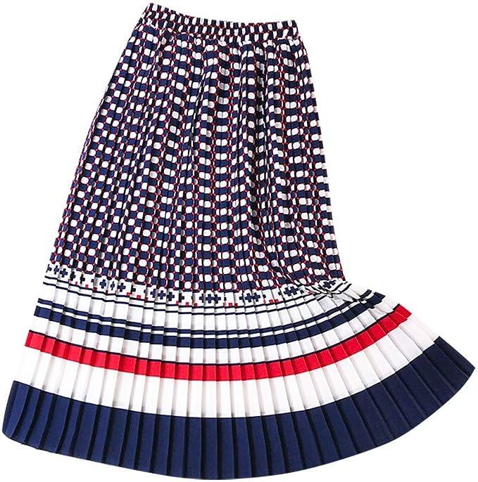 beautyjourney Falda de Rayas de Mujer Falda de una línea Falda ...