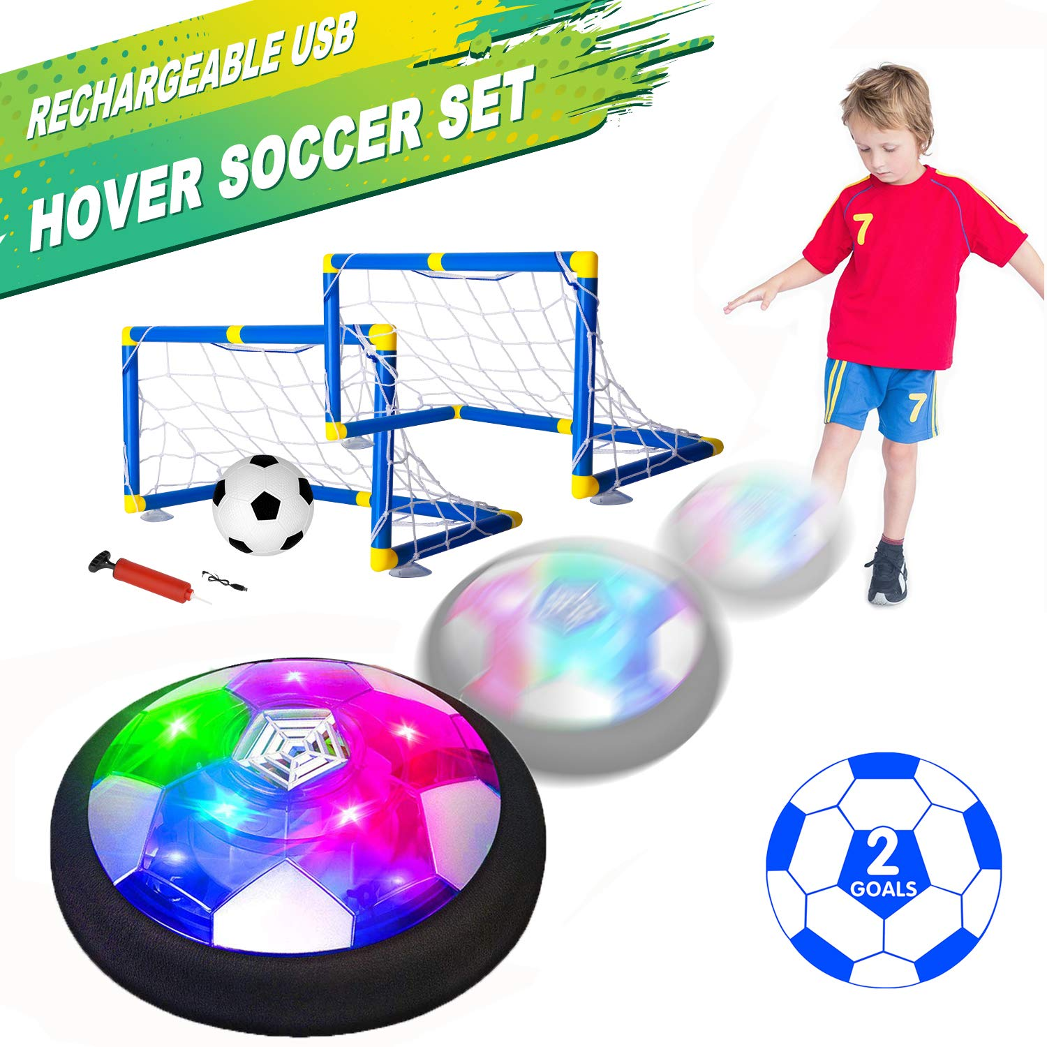 Kids Toys Hover Soccer Ball Set with 2 Goals, Air Soccer with LED Light, USB Rechargeable Floating Soccer Ball with Foam Bumper for Indoor Outdoor Sports Ball Game, Football Toy for Boy Girl Best Gift by AOKESI
