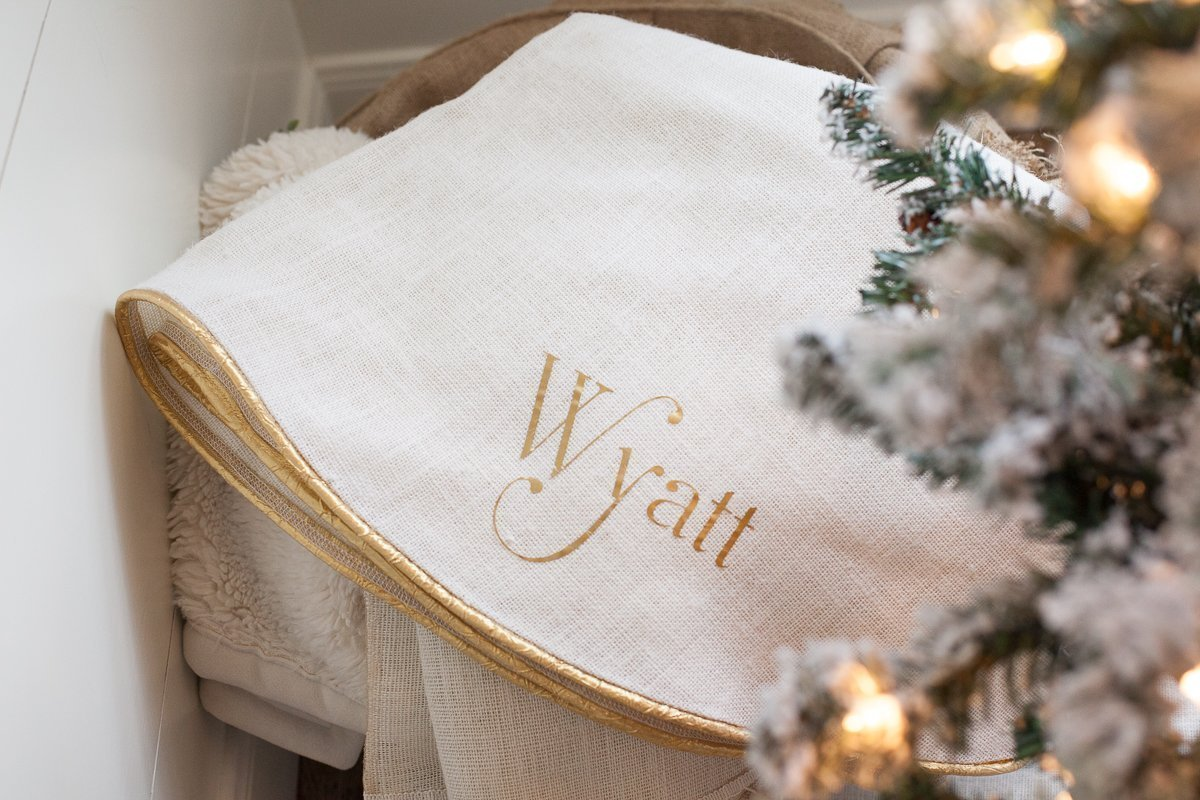 Christmas Tree Skirt with Burnished Gold Trim, Fully Lined Large Creamy White Burlap Tree Skirt, Approx. 60