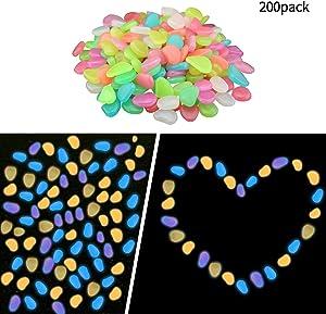 Jsbaby 200PCSGarden Pebbles,Glow Decorative Stones Rocks,Luminous Pebbles Stones for Outdoor Decor Pathway, Lawn Garden Yard, Aquarium Fish Tank (Colorful)