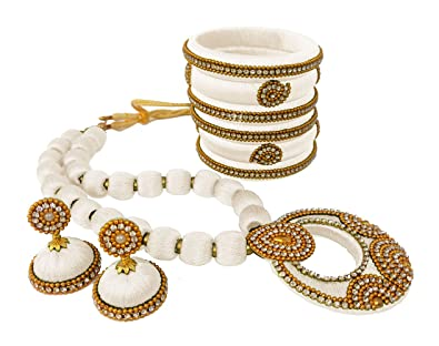 5ad8373365a17 Buy Youth White Silk Thread Jewellery Set - Bangles, Necklace and ...
