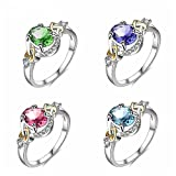 Fashion Unisex Rings,Women White Wedding Engagement Crystal Rings for Women Jewelry Gift Yamally