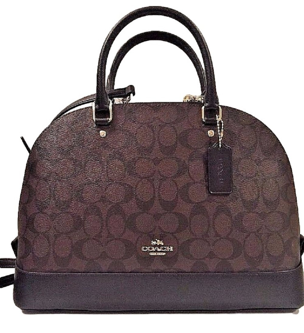 Coach Sierra Satchel Signature Coated Canvas handbag Brown /Black