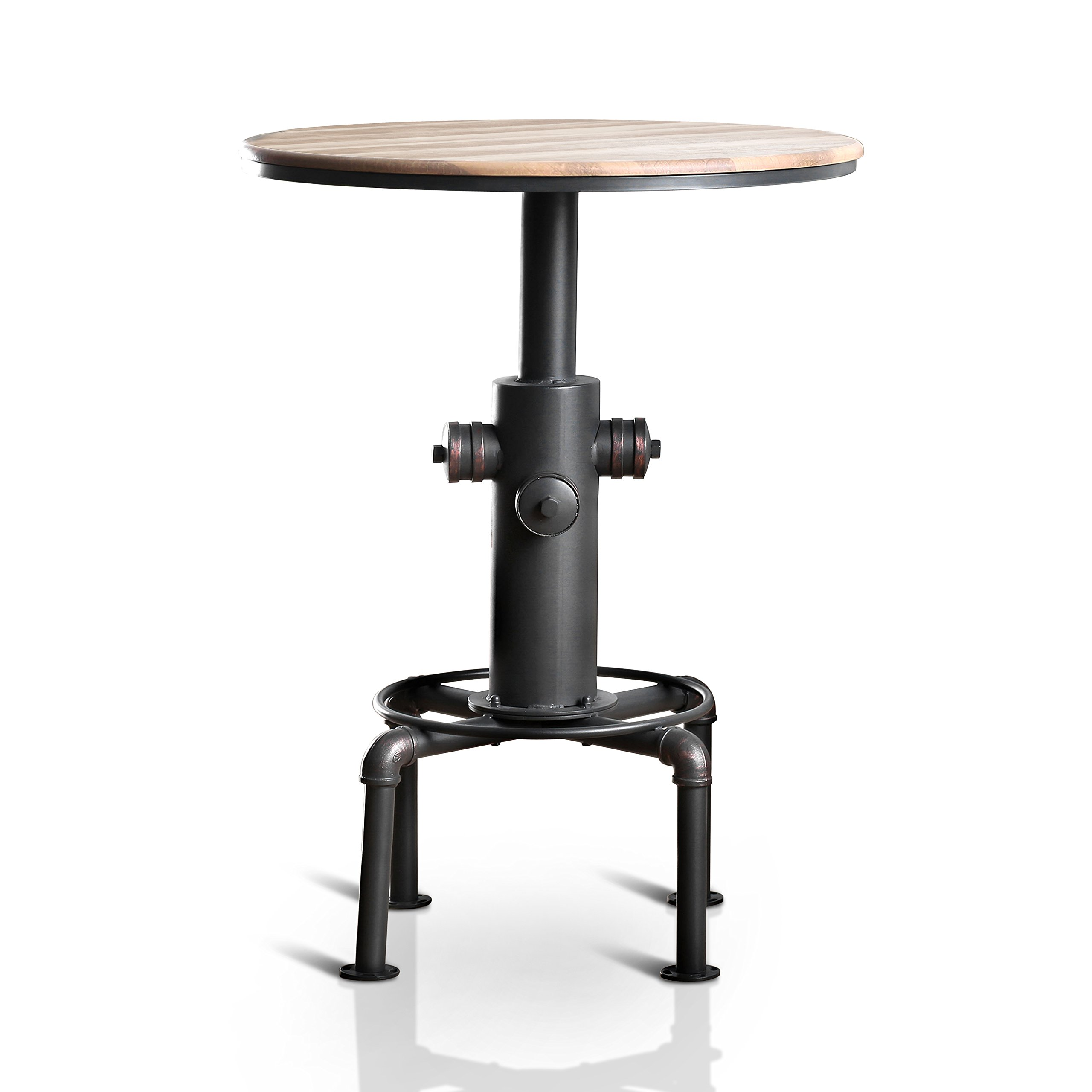HOMES: Inside + Out IDF-3367BT Grant Bar Table Antique Black Industrial