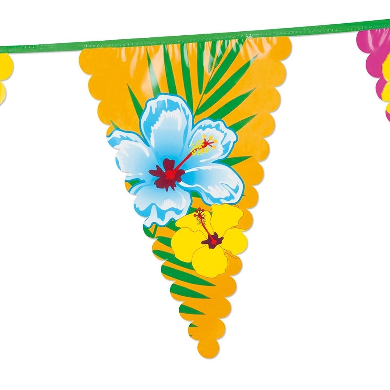 Fancy Dress VIP 6 Metre Giant Hibiscus Hawaiian Party Flower Garland Flag Pennant Bunting Luau Event Summer Tropical Island BBQ