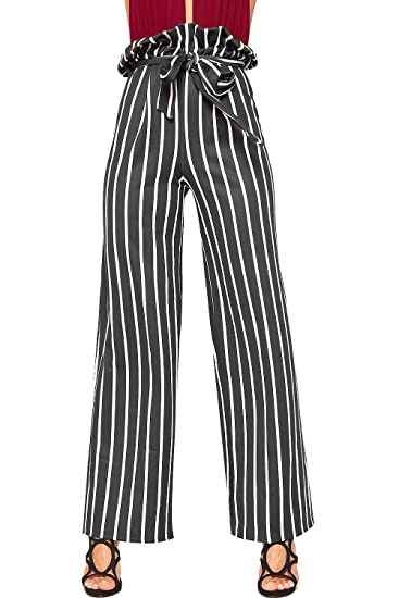 327a472f9 WearAll Women's Striped Print Belt Wide Leg Flared Paperbag Trousers  Palazzo Pants - Black White - US 6 (UK 10) at Amazon Women's Clothing store: