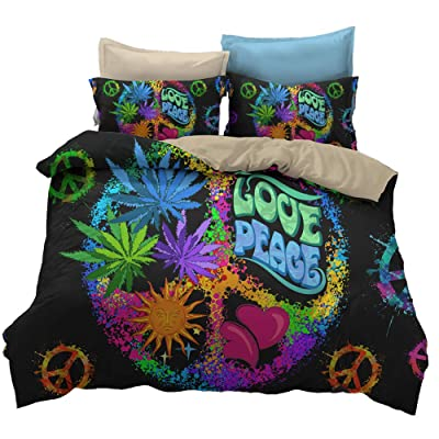 Suncloris,Hippie Psychedelic Black Rainbow Peace Sign Bedding,Boys Girls Watercolor Colorful Art Duvet Cover Set .Included:1 Duvet Cover,1 Pillowcase(no Comforter Inside)(Twin): Home & Kitchen
