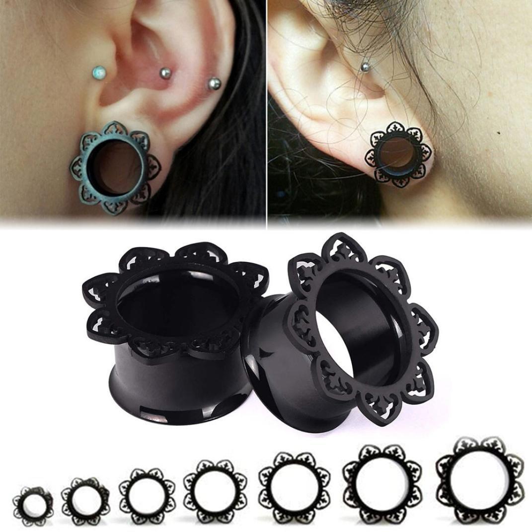 minshao 1 par New Black Brass Túnel dilatador Arty Cobre Piercing joyas pendientes negro negro Talla:8 mm: Amazon.es: Bebé