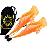 Flames N Games ANGEL POI Set (Orange) Practice Poi AKA Scarf Spiral Poi + Travel Bag