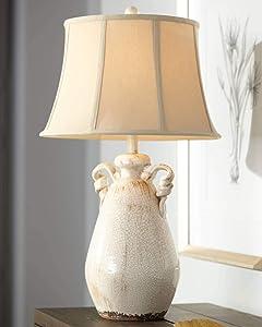 Isabella Cottage Accent Table Lamp Rustic Ivory Ceramic Milk Jar Crackle Beige Bell Shade for Living Room Family Bedroom - Regency Hill