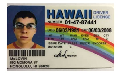 McLovin - Hawaii Drivers License - Superbad - Novelty Movie Prop  Reproduction