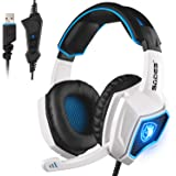 2017 Newest SADES Spirit Wolf USB Over Ear Computer Gaming Headset with Vibration Effect,Hidden Microphone,Noise Isolating Volume Control LED Light For PC Gamers (Black White)
