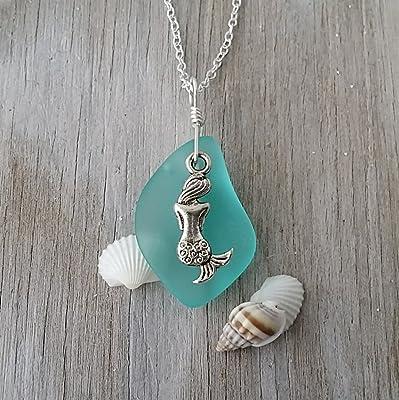 Handmade in Hawaii, Aqua sea glass necklace, freshwater pearl, Mermaid charm, Hawaiian Gift, FREE gift wrap, FREE gift message,