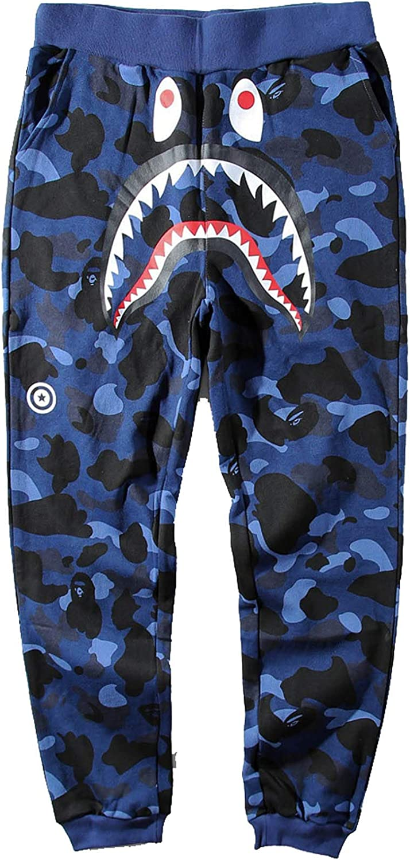 Deep Blue A Bathing Ape Bape Shark Head Loose Casual Sports Overalls Long Pants