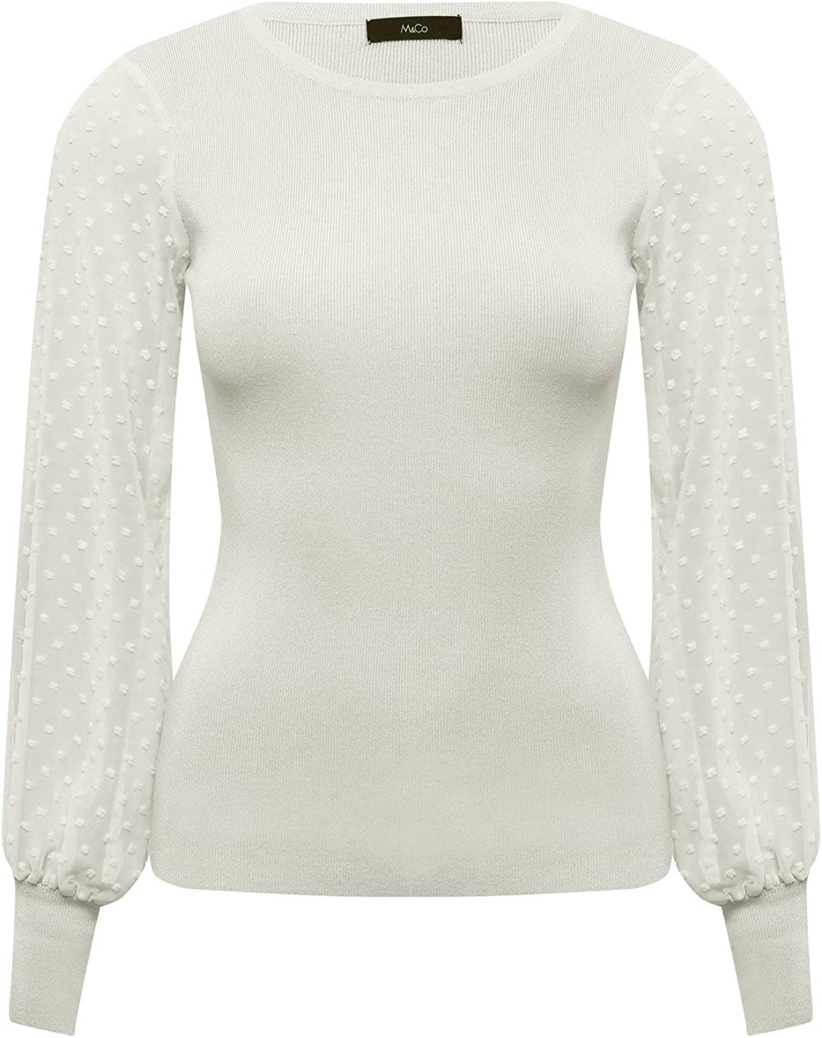 M&Co Ladies Dobby Sleeve Jumper with Crew Neck Long Sleeve