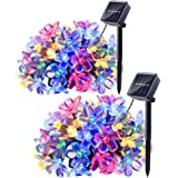 Qedertek 2 Pack Solar Christmas String Lights, 21ft 50 LED Blossom Flower Fairy Garden String Lights for Outdoor, Home, Lawn, Wedding, Patio, Party and Holiday Decorations (Multi-Color)