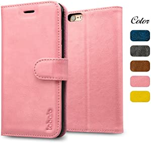 """labato iPhone 6S Plus Case, Genuine Leather Wallet Folio Flip Case Cover Magnetic Stand Function with Card Slots/Cash Compartment for Apple iPhone 6 Plus / 6S Plus 5.5""""- Pink (lbt-I6U-05Z35)"""