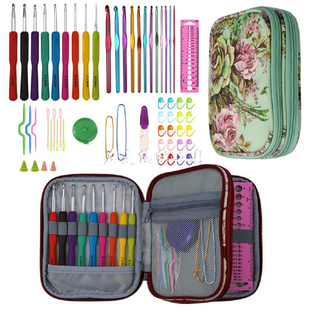 HOPEHY 59Pcs DIY Knitting Crochet Hook Set with Ergonomic Handles Aluminum Handle Crochet Hooks Knitting Needles Size from 2mm-8mm,Contains All The Crochet Accessories Kit