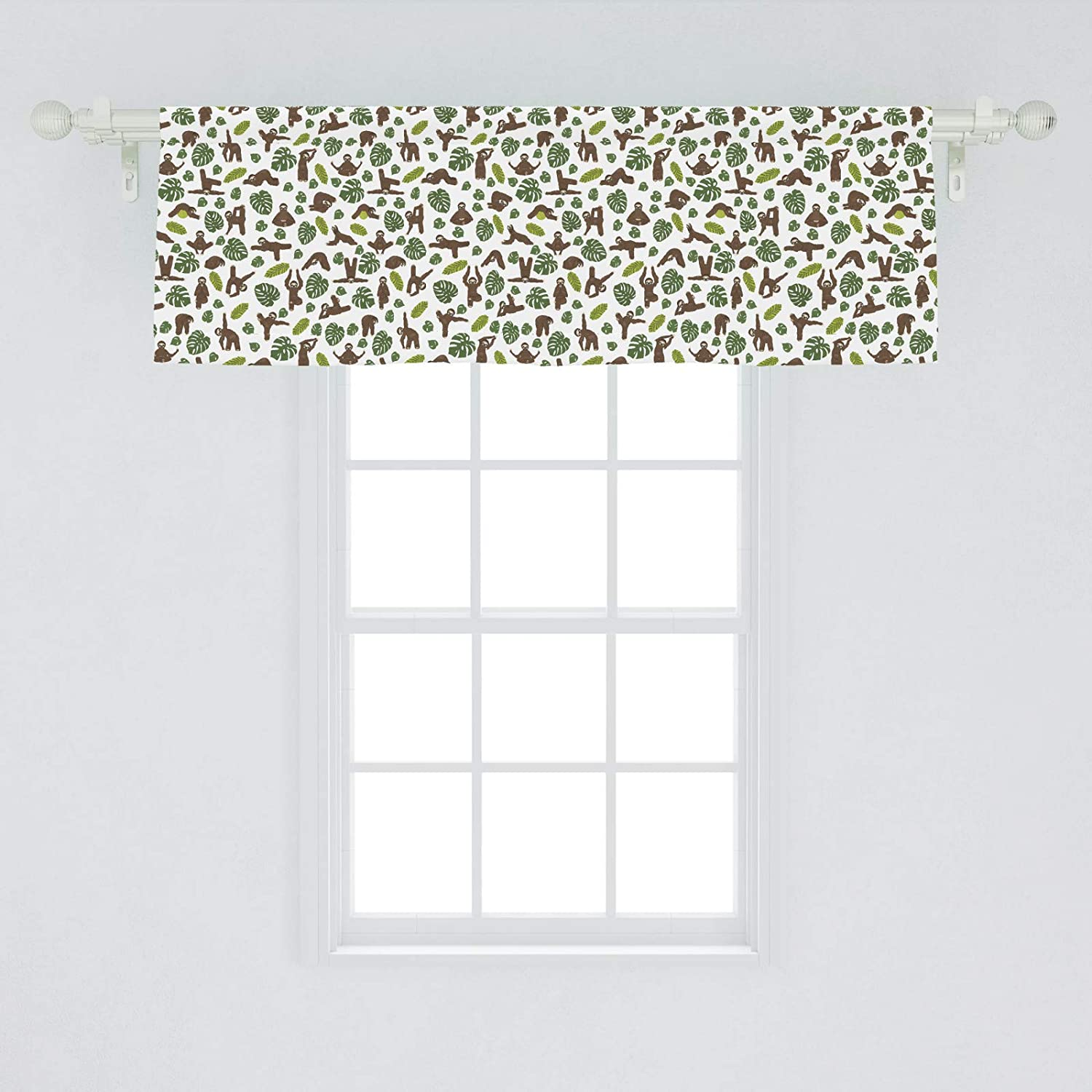 "Ambesonne Funny Sloth Window Valance, Yoga Gymnastics Lazy Animal Print on Plain Background, Curtain Valance for Kitchen Bedroom Decor with Rod Pocket, 54"" X 18"", Umber Olive"