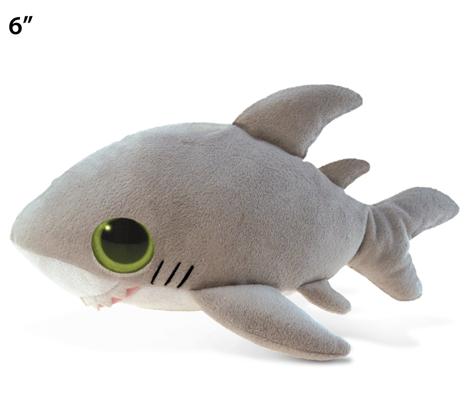 Puzzled Gray Shark Plush, 6 Inch Collectible Decorative Big Eyes Stuffed Animal Soft Take A Long Plushie Pillow Squishes Washable Cushy Mini Doll Ocean Sea Life Themed Kids Toddlers Toy & Games
