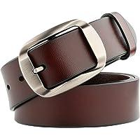 JasGood Men's Designer Western Belt For Men Dress Leather Belt with Grain Leather Strap Pin Buckle