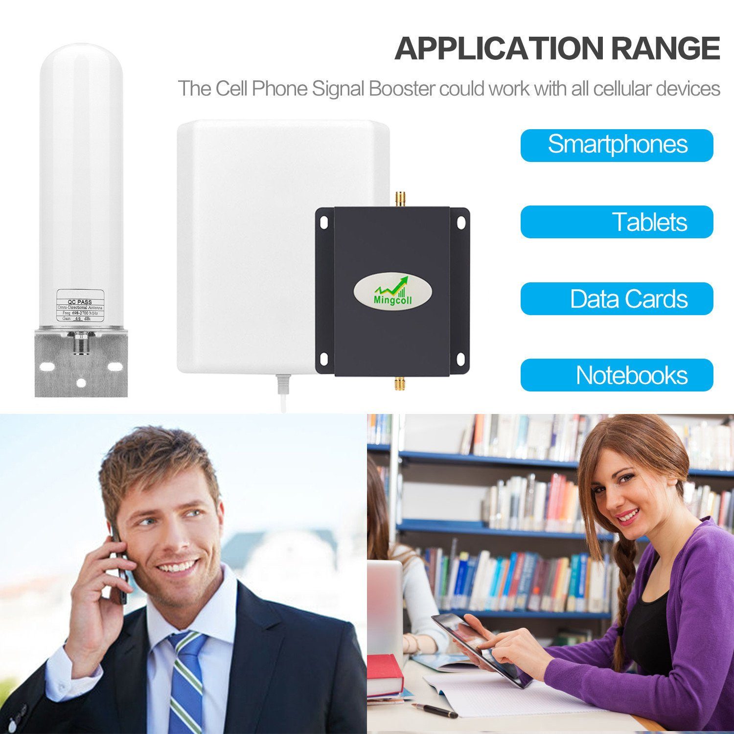 WA70-SWP Cell Phone Signal Amplifier Mingcoll 700MHz Band 12//17 4G LTE ATT Cell Phone Signal Booster Mobile Signal Booster Repeater