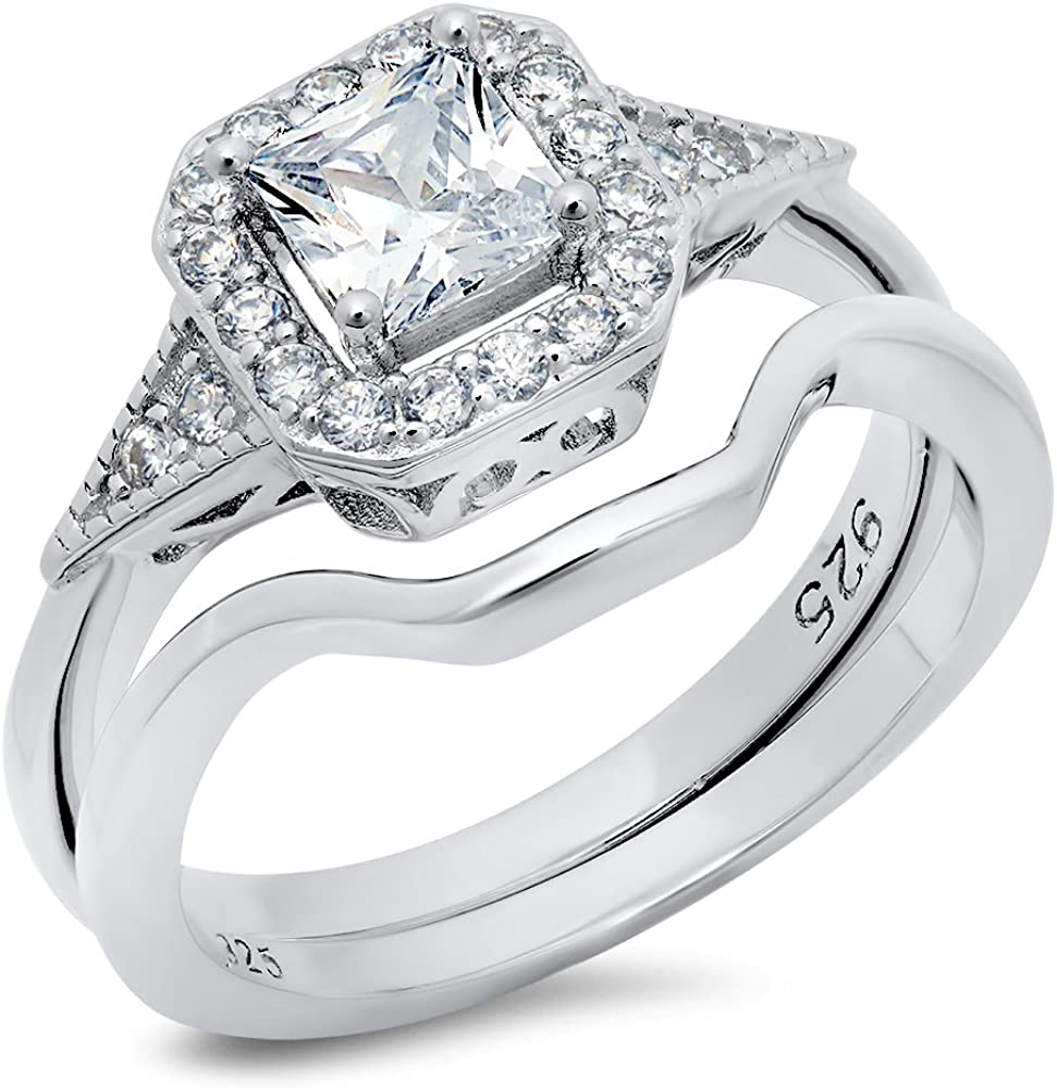 Princess Kylie Square Center Baguette Cubic Zirconia Designer Bridal Ring Rhodium Plated Sterling Silver