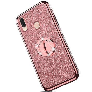 Ukayfe Compatible con Huawei P20 Lite, [Carcasa Diamante Purpurina] Funda Ultra Slim Suave Silicona, Case con Ringke para Mujer [Resistente a Golpes] ...