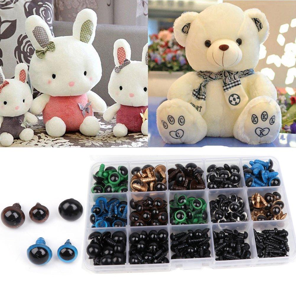 Hacloser 264Pcs/set Dolls Eye Bear Toy Eyeballs Animal Eyes Felting Toy DIY Handcraft 6-12mm Black Colorful