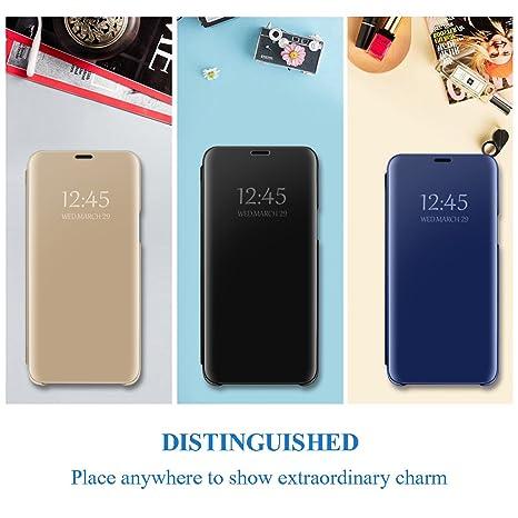 Croazhi Kompatibel mit Huawei P30 H/ülle Spiegel Mirror Handyh/üllen Silikon+PC Flip Schutzh/ülle Tasche Kratzfeste Standfunktion Schutz Bumper Leder Case Cover Huawei P30