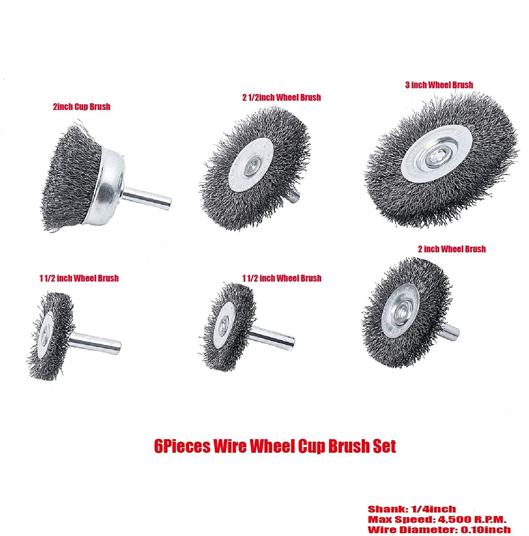 corrosi/ón eliminar /óxido Juego de cepillos de rueda de alambre 1//4 para taladro 7 piezas de lat/ón recubierto de alambre Copa Set con v/ástago de 1//4 pulgadas