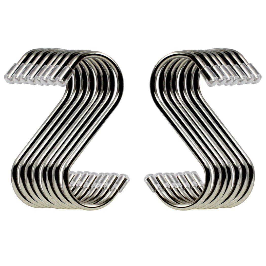 S 10 St/ücke Sf/örmigen Haken Edelstahl Metall Kleiderb/ügel Silber H/ängen Haken f/ür Kleidung Taschen Handt/ücher Pflanzen Gr/ö/ße M//S