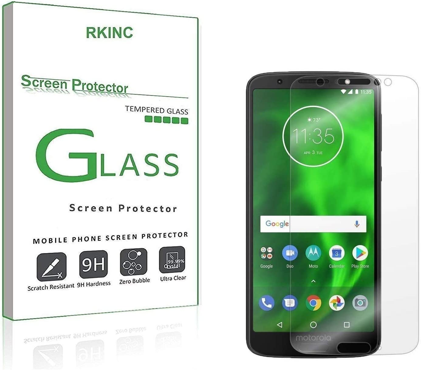 RKINC Screen Protector for Motorola Moto G6, Tempered Glass Screen Protector[0.3mm, 2.5D][Bubble-Free][9H Hardness][Easy Installation][HD Clear] forMotorola Moto G6(2 Pack)